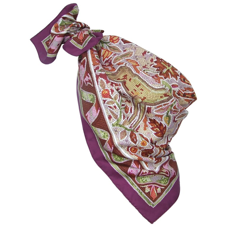 Hermes Silk Scarf Pavement Mosaic Maurice Trenchant Purple Green 90 cm For Sale