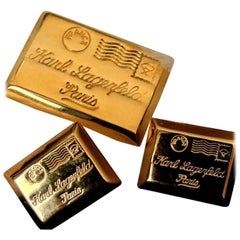 Karl Lagerfeld Postcard from Paris KL Gold Earrings Pin Brooch 3-Pc Set