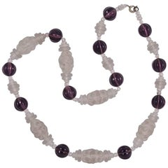 Art Deco Mauve and Frosted Glass Bead Necklace