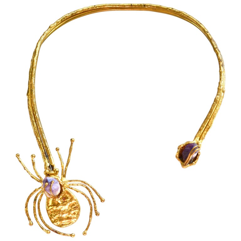 1970s Amethyst Brutalist Spider Necklace  For Sale