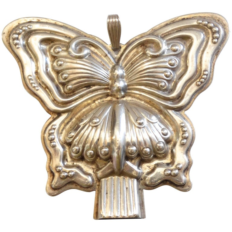 1980s Butterfly Silver Whistle Pendant  For Sale