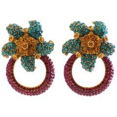 Rhinestone Flower Doorknocker Earrings