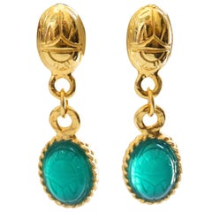 Kenneth Jay Lane Green Jewel Beetle Dangly Earrings