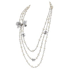 Chanel Crystal Jewel Butterfly Bow Multi Strand Pearl Necklace