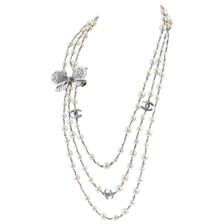 Chanel Crystal Jewel Butterfly Bow Multi Strand Pearl Necklace 1