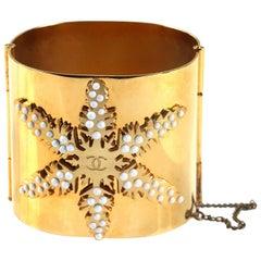 Chanel Gold Snowflake Cuff Bracelet