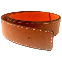 Hermes Orange and Gold leather Belt Strap Size 105, 42 mm