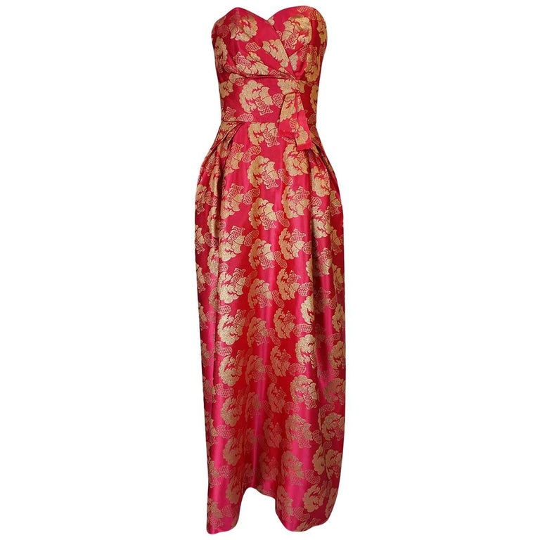1950s Helena Barbieri Strapless Pink & Gold Silk Brocade Dress