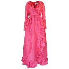 1970s Mollie Parnis Pink Silk Taffeta Dress w Ruffle Detailing
