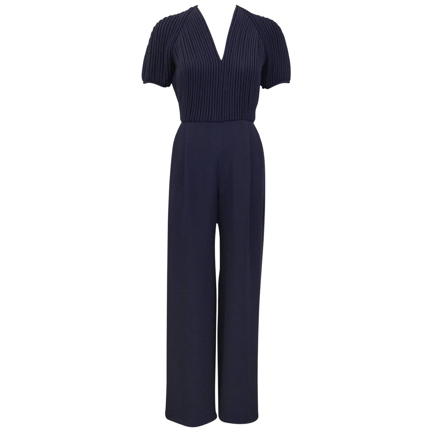 1990's Valentino Couture Navy Blue Jumpsuit