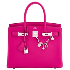 Hermes Rose Pourpre 30cm Pink Togo Palladium Hardware Birkin Bag