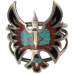 Native American Zuni Matrix Turquoise Coral Inlay Sterling Silver Cuff Bracelet