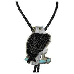 Native American Sterling Silver Zuni Sheyka Eagle Bolo Tie