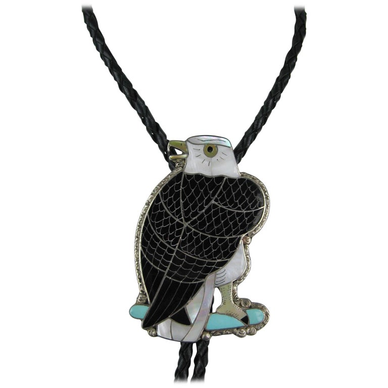 Native American Sterling Silver Zuni Sheyka Eagle Bolo Tie For Sale
