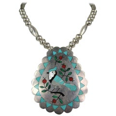 Native American Zuni Sterling Silver Blue Jay Coral & Turquoise Pendent Necklace