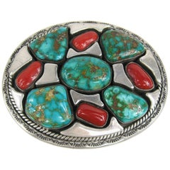 Massive Native American Turquoise and Coral Belt Buckle by Vandever