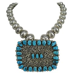 Massive 1960s Native American Dead Pawn Zuni Turquoise Sterling Silver Necklace