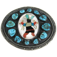 Native American Pawn Zuni LBJ Navajo Spiderweb Turquoise Sterling Belt Buckle