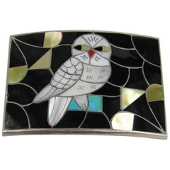 PORFILIO & ANN SHEYKA Native American Owl Zuni INLAY Sterling Silver Belt Buckle