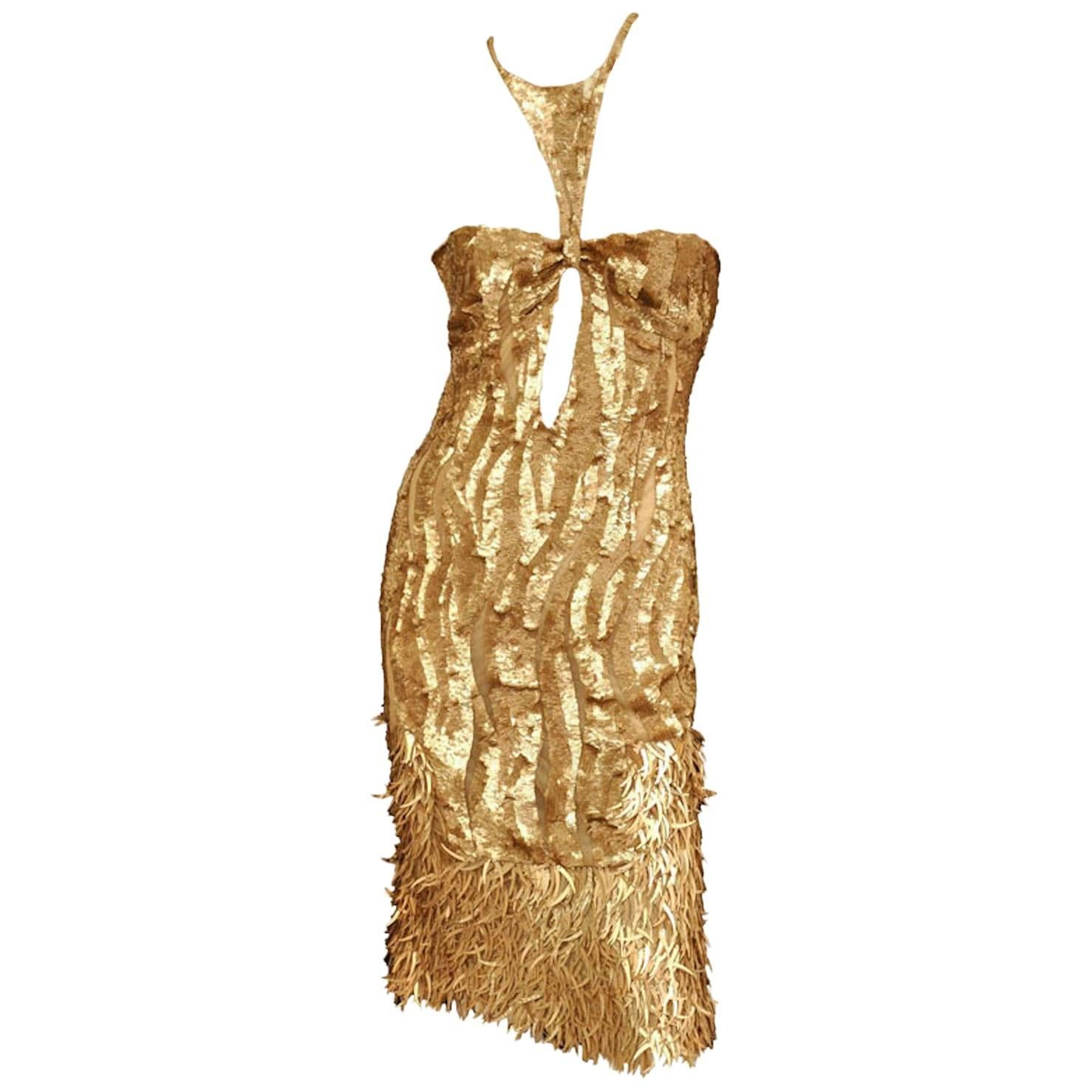 New Tom Ford for Gucci 2004 Collection Gold Embellished Cocktail Dress It. 42