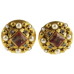 French Henry Perichon Gilt Metal Clip-on Earrings with Baroque Design