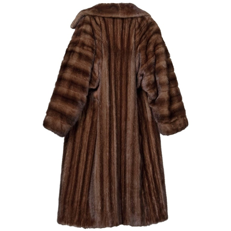 Spectacular 1980s James Galanos Vintage Female Mahogany Mink Full Length Coat