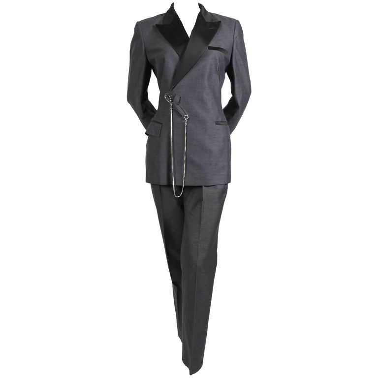 1990's JEAN PAUL GAULTIER grey suit with oversized safety pin and chain detail