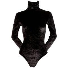 1990's RIFAT OZBEK black velvet bodysuit