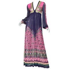 Gottex Mediterranean Jersey Maxi Dress, 1970s