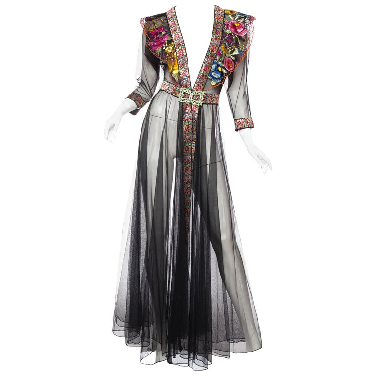 Sheer Net Duster Jacket Dress with Floral Hand Embroidery