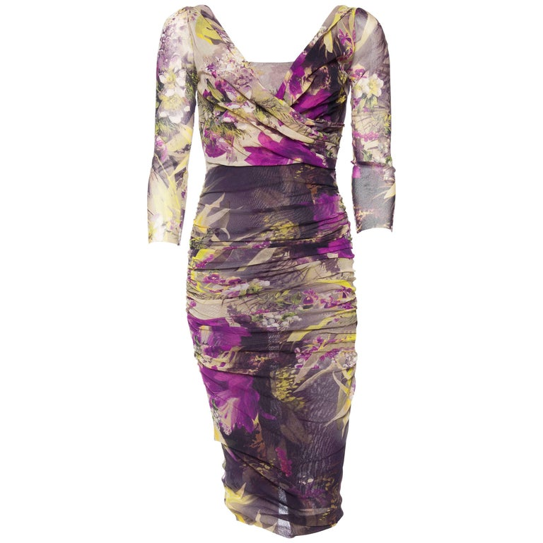 Jean Paul Gaultier Abstract Floral Body-con Dress
