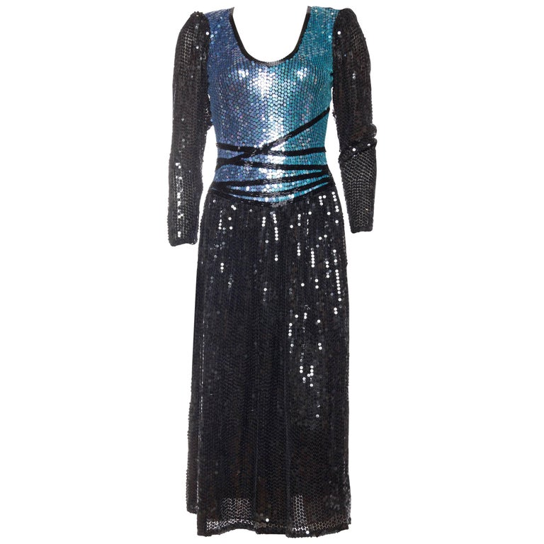 Neil Bieff Sequin Beaded Dress, 1970s