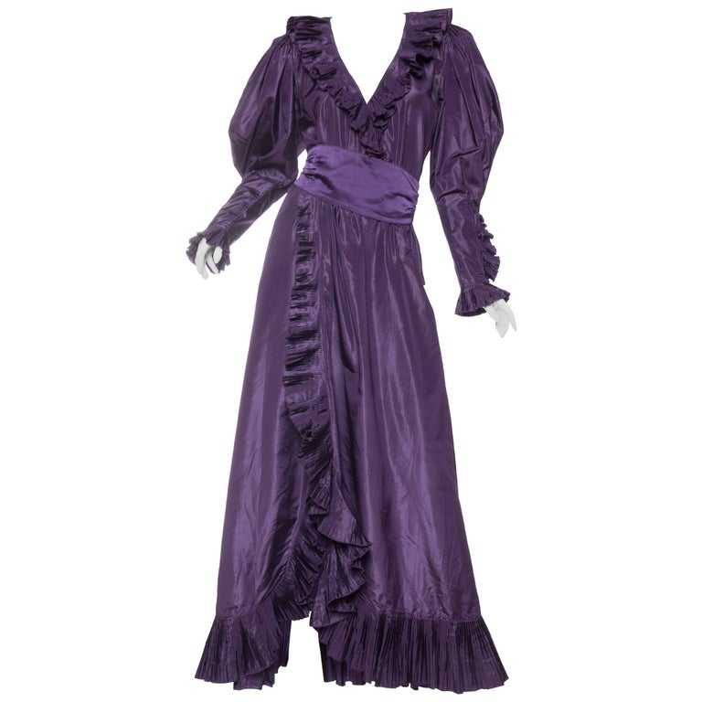 Ruffled Silk Taffeta Duster Coat Wrap Dress 1970s For