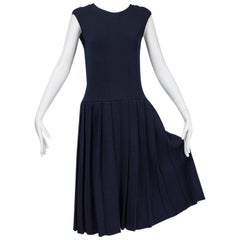 Norman Norell Navy Knife Pleat Knit Dress, 1960s