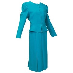 Louis Féraud Teal Trapunto Peplum Suit with Provenance - US 8, 1980s