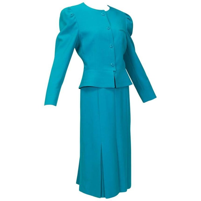 Louis Féraud Teal Trapunto Peplum Suit with Provenance - US 8, 1980s For Sale