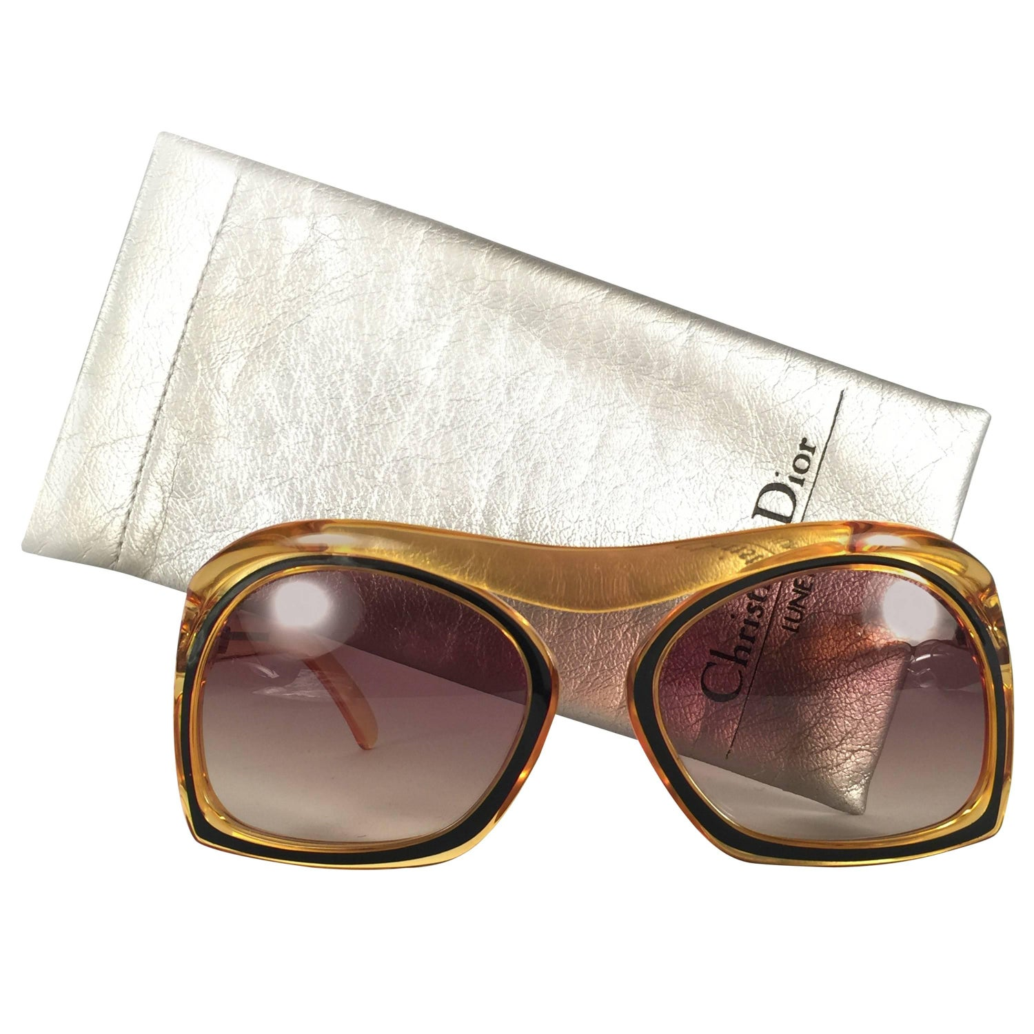 9cdcaa31e New Vintage Christian Dior 2043 10 Oversized Amber Black Optyl Sunglasses