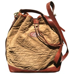 Vintage Mulberry brown khaki quilted suede leather bucket hobo bag. Roger Saul.