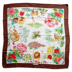"Gucci Vintage ""I Continenti"" Silk Scarf Foliage and Wildlife with Brown Border"