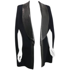 Yves Saint Laurent Black Wool/Cashmere Cape with Leather Lapel