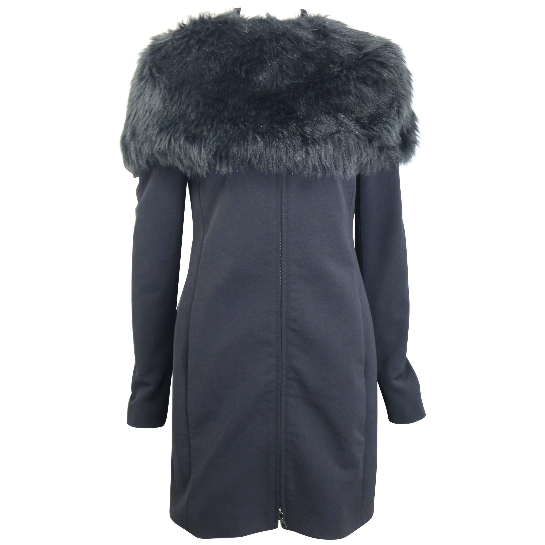 Prada Black Nylon with Detachable Black Faux Fur Jacket