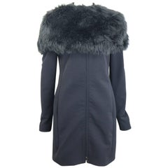 Prada Black Nylon with Detachable Black Faux Fur Jacket