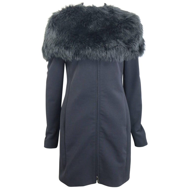 Prada Black Nylon with Detachable Black Faux Fur Jacket  For Sale