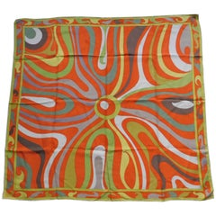 Emilio Pucci Vintage Silk Scarf Psychedelic Design in Orange and Green, 1960