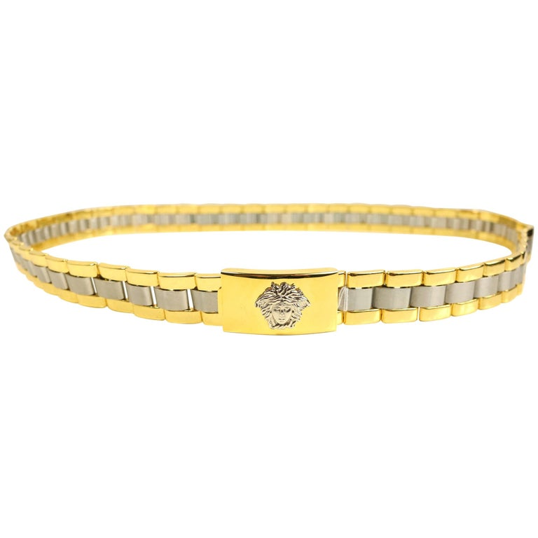 Gianni Versace Gold and Silver Toned Hardware Metal Belt