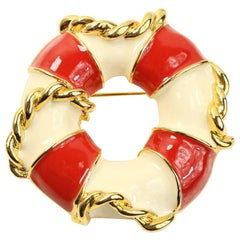 Escada Gold Toned Ivory/Red Lifebuoy Brooch