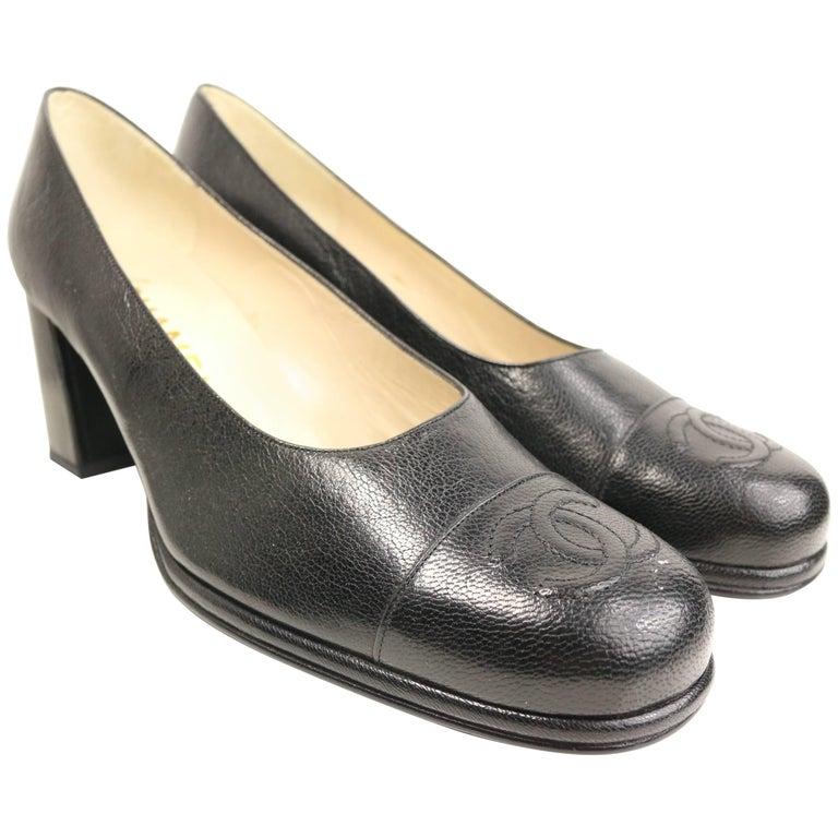 "90s Classic Chanel Black Caviar ""CC"" Square Toe Shoes For Sale"