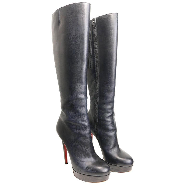 "Christian Louboutin ""Botalili"" 120mm Black Leather Long Boots For Sale"