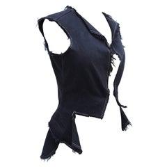 2003 Comme de garcons Black Denim Waistcoat style Raw Edge Vest