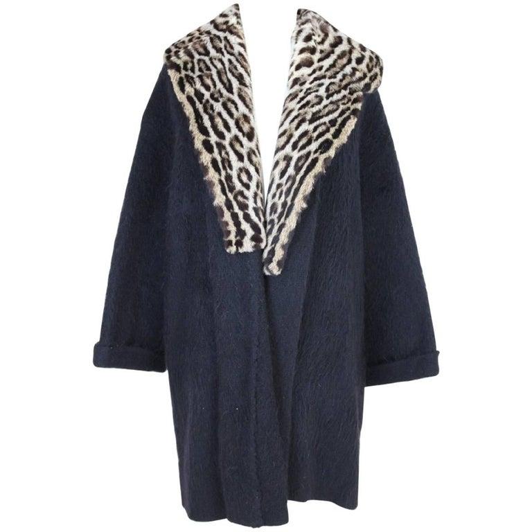 Gianfranco Ferre vintage wool angora and leopard fur jacket black  For Sale